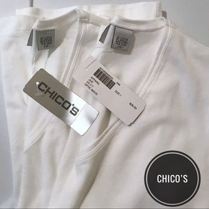 NWT Set of 2 Chico's White V Neck 1